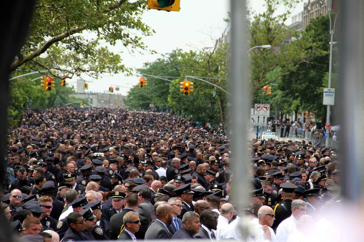 A sea of blue as more than 10,000 police officers line the Grand Concourse as far as the eye can see.--Photo by David Greene