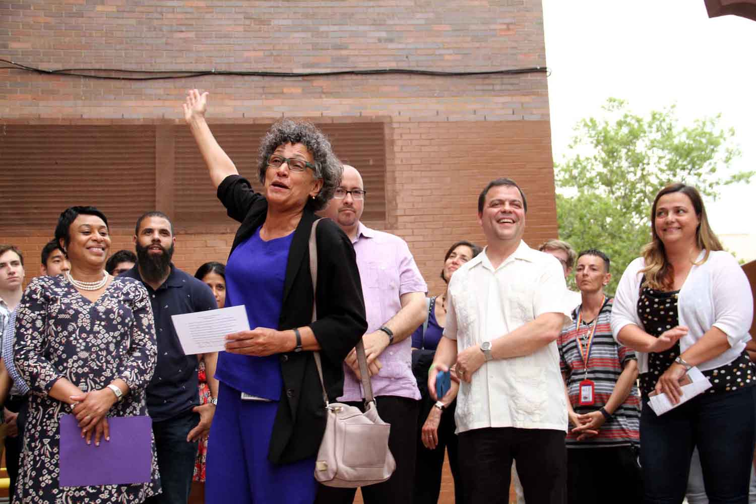 At the mural unveiling are (l-r): Dr. Mary Bassett, Senator Gustavo Rivera and Assemblyman Luis Sepulveda.--Photo by David Greene