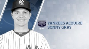 The Yankees acquired RHP Sonny Gray and int'l signing bonus pool money from Oakland for Dustin Fowler, James Kaprielian and Jorge Mateo. Credit: @YankeesPR
