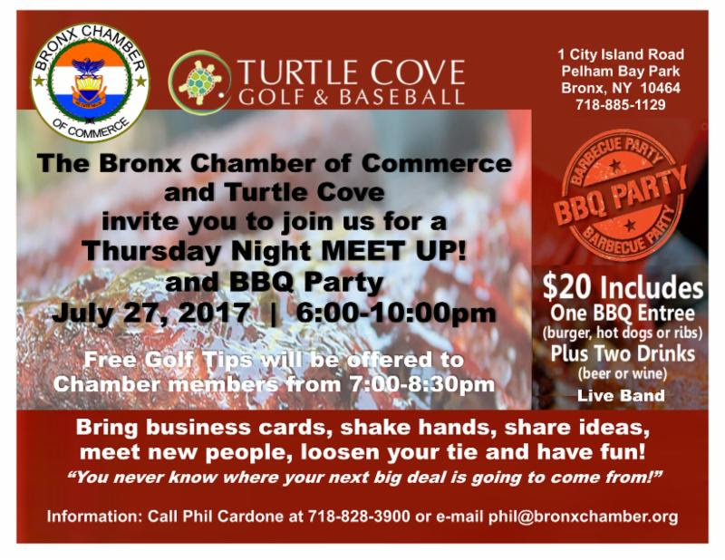 """The Bronx Chamber of Commerce and Turtle Cove are co-hosting  a """"Meet Up"""" Networking Event and BBQ Party on July 27, 6-10PM at Turtle Cove Golf & Baseball, 1 City Island Avenue, Pelham Bay Park, Bronx 10464."""