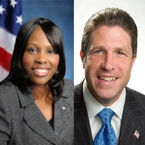 CM Vanessa L. Gibson (left); PBA president Patrick Lynch (right).