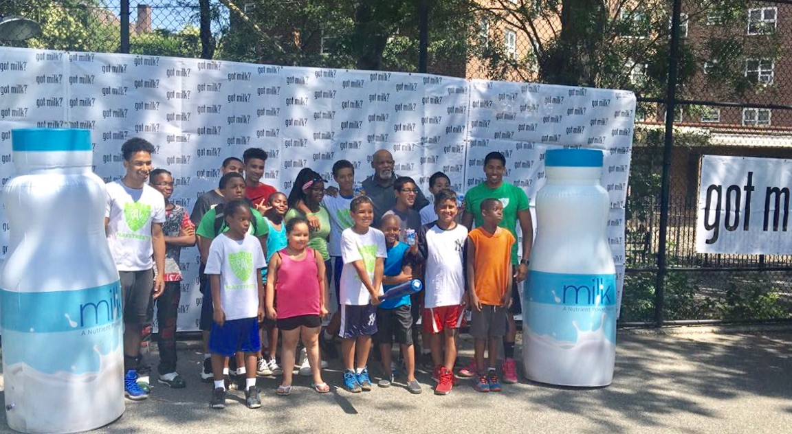 "This week, the American Dairy Association visited the Melrose Playground with their ""Got Milk"" campaign."