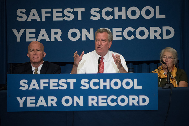 Mayor Bill de Blasio, Police Commissioner James O'Neill and School Chancellor Carmen Fariña hold a press conference on school safety at M.S. 88 in Brooklyn on Tuesday, August 1, 2017. Michael Appleton/Mayoral Photography Office