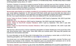 Bronx Chamber of Commerce 2017 Bronx Biz & Information Expo: Thursday, October 5th