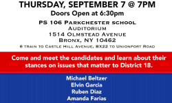 City Council Bronx District 18 Candidate Forum – September 7