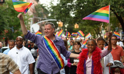 Mayor Bill de Blasio and First Lady Chirlane McCray march in the 18th Annual Brooklyn Pride Parade on Saturday, June 14, 2014. Credit: Rob Bennett/Mayoral Photography Office