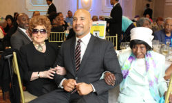 Borough President Ruben Diaz, Jr. was joined at the event by (l) Ms. Beatrice Castiglia-Catullo, 100, founder of Regional Aid for Interim Needs (R.A.I.N.) and (r) Ms. Sarah Turner, who had then-recently celebrated her 101st birthday at the R.A.I.N. Eastchester Neighborhood Senior Center.
