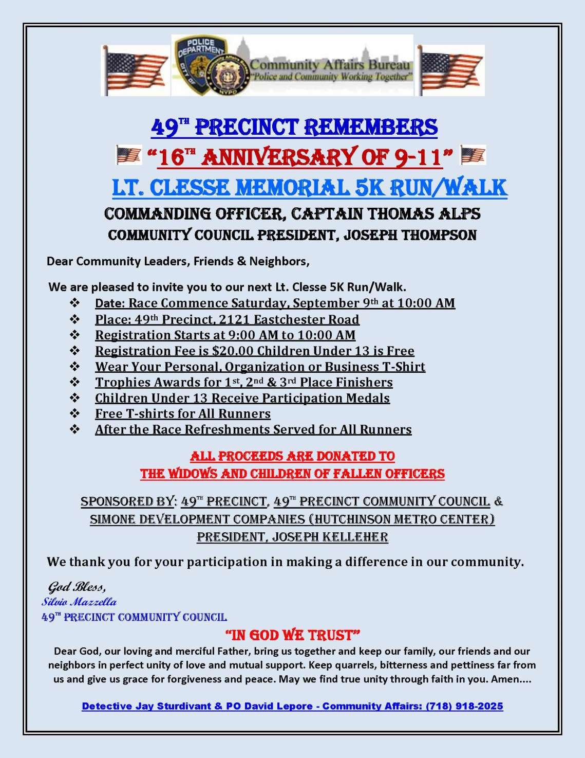 2017 Sept 9 Lt. Clesse 911 Memorial Run