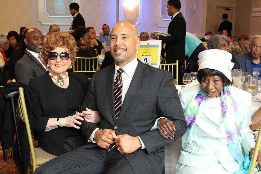 Borough President Diaz was joined at the event by (l) Ms. Beatrice Castiglia-Catullo, 100, founder of Regional Aid for Interim Needs (R.A.I.N.) and (r) Ms. Sarah Turner, who recently celebrated her 101st birthday at the R.A.I.N. Eastchester Neighborhood Senior Center.