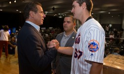 September 24, 2017- New York, NY - Governor Andrew M. Cuomo was joined by New Yorkers Jennifer Lopez, Rose Perez, Assemblyman Marcos Crespo and pitcher Seth Lugo of the Mets, along with elected officials and labor, business and hospital leaders to provide an update on the Puerto Rico recovery effort and to make an announcement. (Photo credit: Philip Kamrass/ Office of Governor Andrew M. Cuomo)