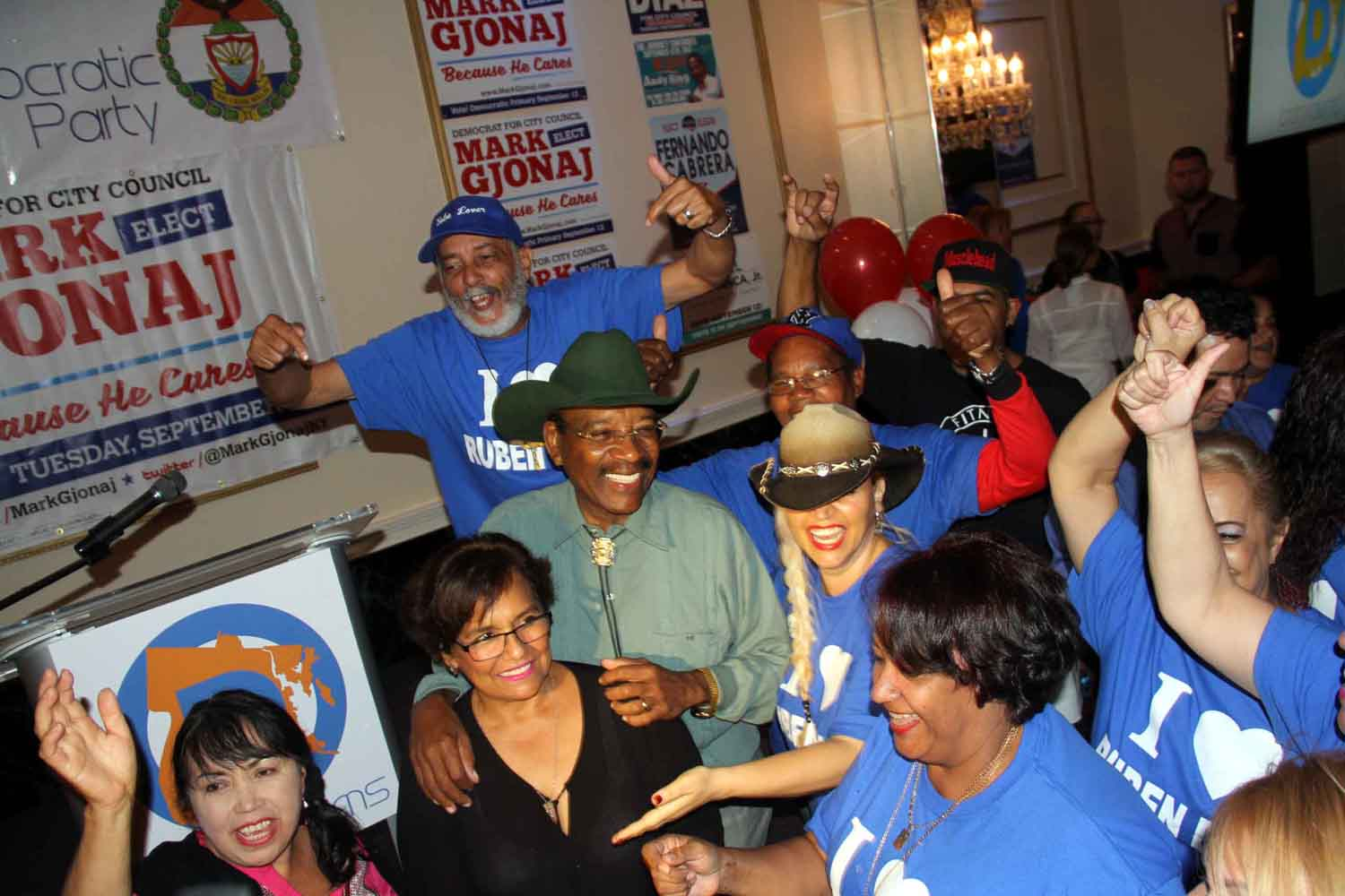 Senator Ruben Diaz, Sr., is surrounded by supporters after defeating several challengers for the City Council seat in District 18.--Photo by David Greene