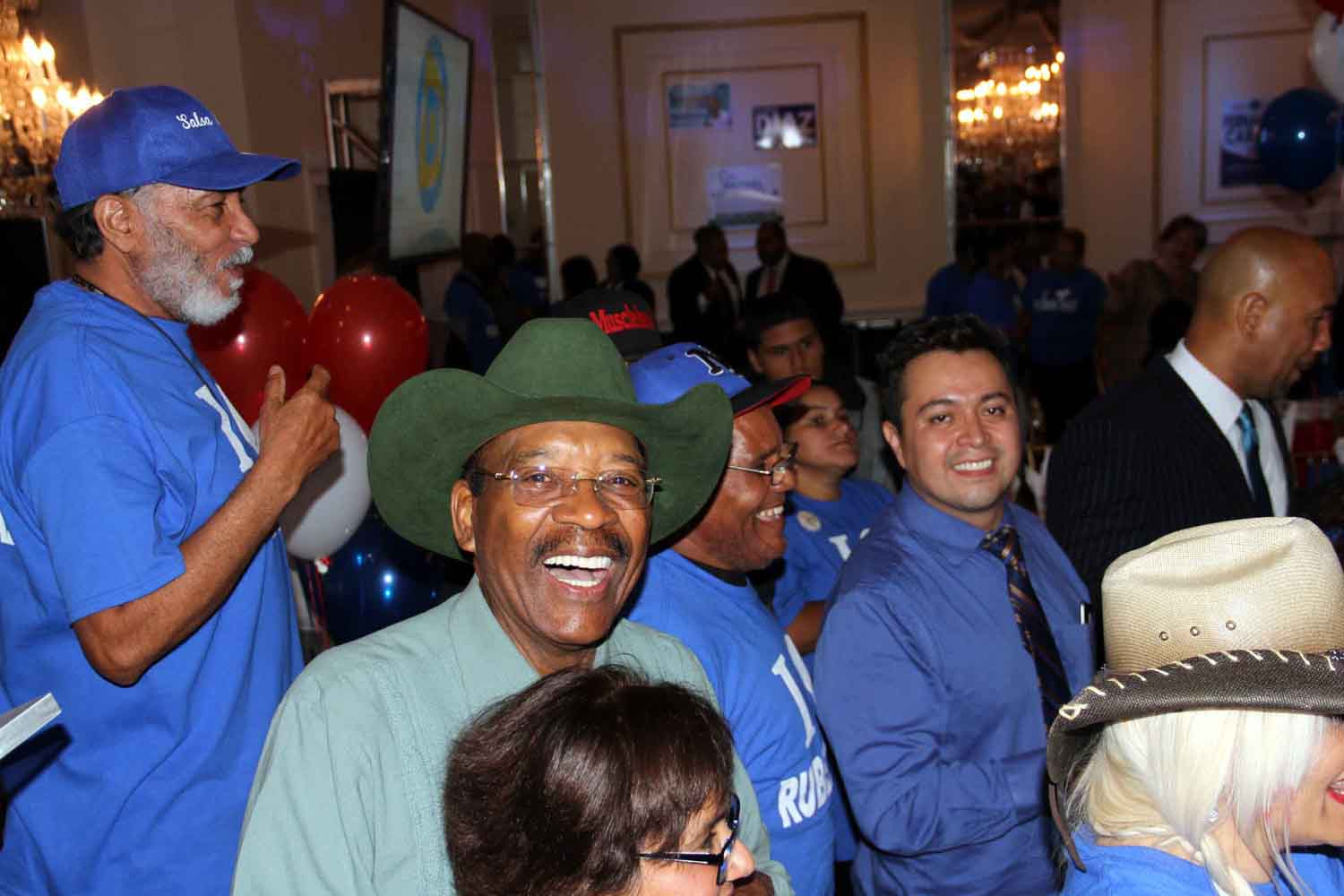 Senator Ruben Diaz, Sr., is all smiles Tuesday night at Maestro's Caterers on Bronxdale Avenue.--Photo by David Greene