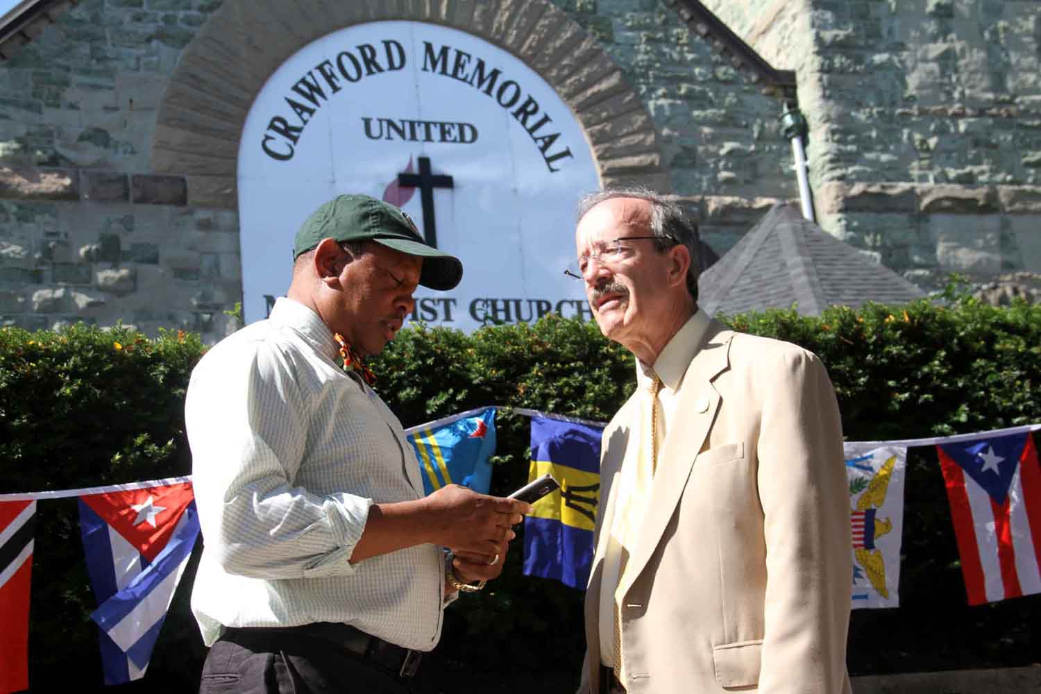 Councilman Andy King and Congressman Eliot Engel outside of the Crawford Memorial United Baptist Church on White Plains Road on Sunday.--Photo by David Greene