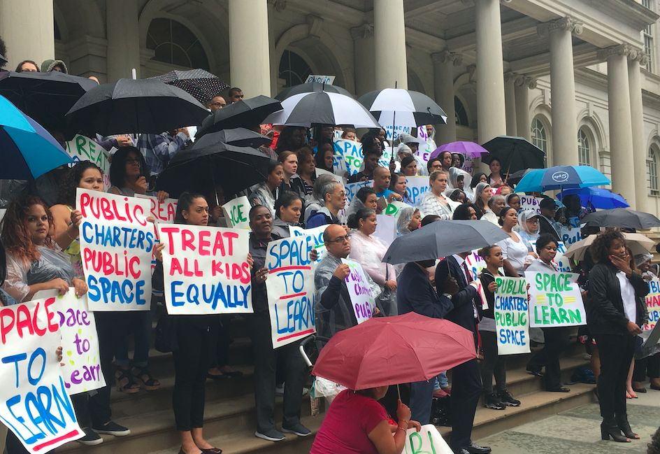 After City Misses September 1 Deadline to Identify Space for Public Charter Schools, More Than 100 Parents and Charter Leaders Rally at City Hall, Demand Action from Mayor de Blasio.