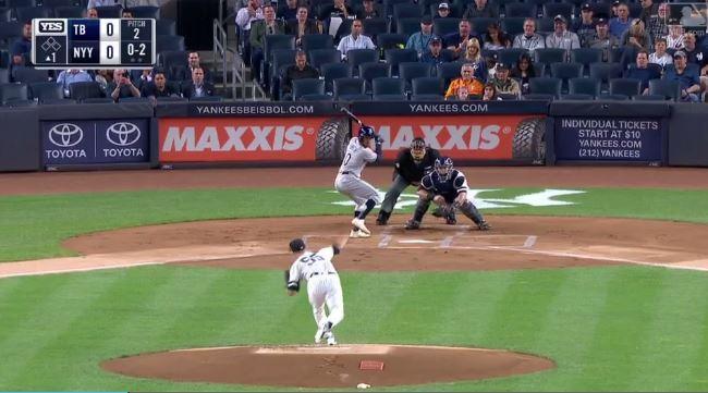 Sonny Gray pitching against the Rays. NY Yankees - MLB.com (screengrab)