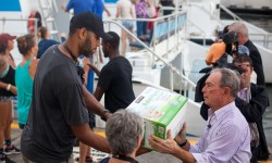 On the ground in the USVI was former NYC Mayor Mike Bloom with NBA allstar Tim Duncan and USVI Gov. Mapp, seeing the devastation firsthand and the resilience of those affected. http://www.usvirecovery.org  (Credit: Twitter @MikeBloomberg)