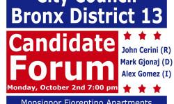Van Nest Neighborhood Alliance Bronx District 13 City Council Debate – October 2