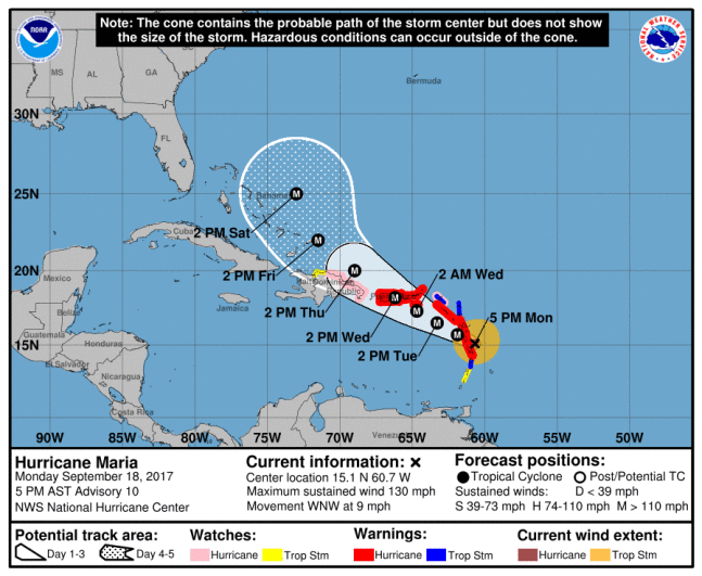 Hurricane Maria grows to Category 3, threatens storm-battered Caribbean. National Weather Service