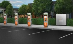 Rendering of fast-charging hub courtesy of ChargePoint