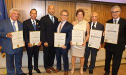 (l to r) Hon. Frank Seddio, Esq; William Mayer; Bronx Borough President Ruben Diaz Jr.; City Council Member James Vacca; Maria Caruso; Joseph Sciame, Cav. Uff., President & Chairperson of the Italian Heritage & Culture Committee of New York; Min. Plen. Francesco Genuardi, Consul General of Italy in New York.