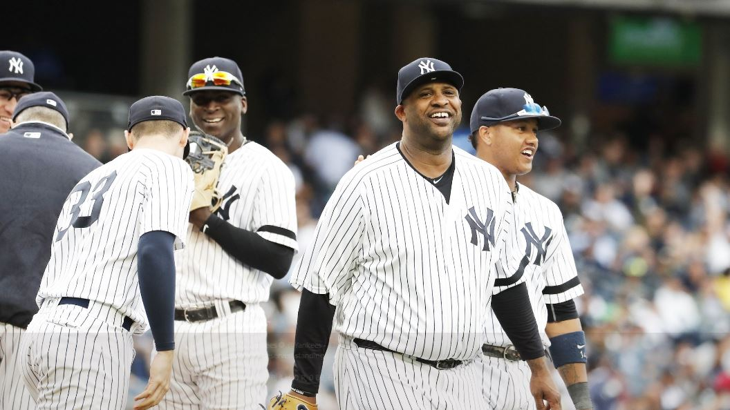 CC Sabathia gets a well-deserved standing ovation as he exits Saturday's game. His final line: 5.2 IP, 4 H, 0 R, 0 BB, 6 K.  (NY Yankees Twitter account)