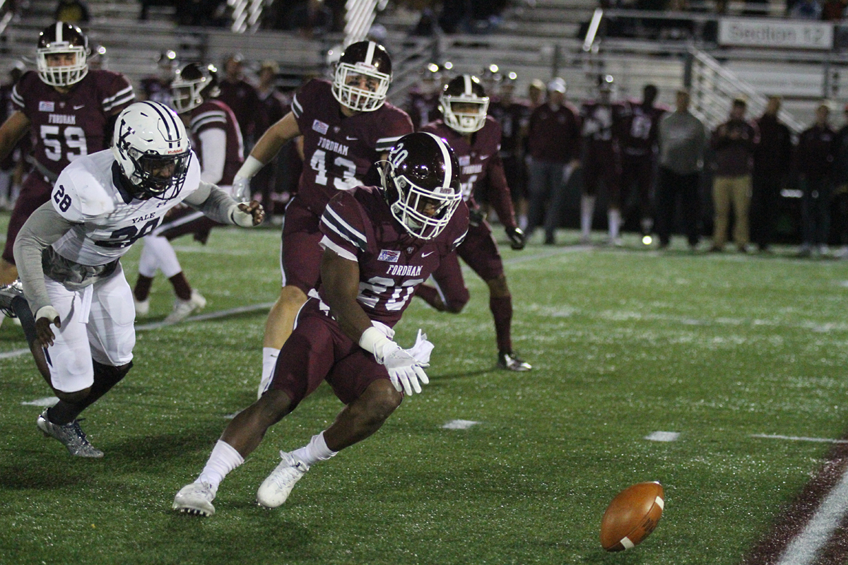 Fordham Rams fumble in a 41-10 shellacking by the Yale Elis. Photo credit: Gary Quintal