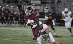 Fordham football's Chase Edmonds was limited to 16 carries and 83 yards in the 41-10 loss. Credit: Gary Quintal