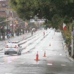 The street's along Morris Park Avenue are deserted an hour before the start of the parade.--Photo by David Greene