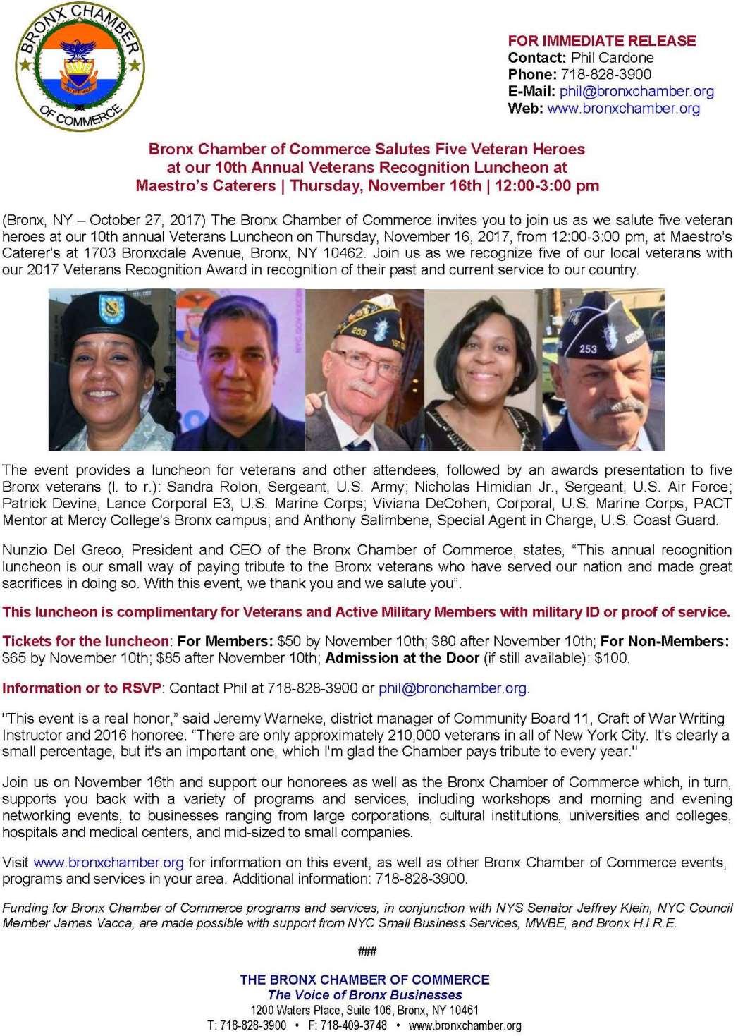 2017 Bronx Chamber Veterans Luncheon release