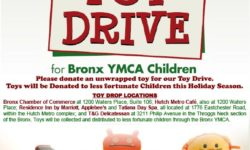 Bronx Chamber of Commerce 2017 Toy Drive will donate Toys to less fortunate children though the Bronx YMCA at the Chamber's December 13th Holiday Party