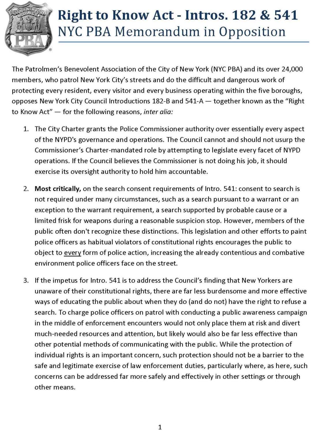 NYC PBA - Right to Know Act - Intro 182 Intro 541_FINAL_Page_1