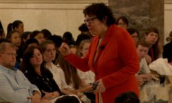 U.S. Supreme Court Justice Sonia Sotomayor speaks to participants of the Thurgood Marshall Junior Mock Trials. Credit: Bronxnet