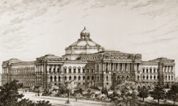 A drawing of the Library of Congress, Smithmeyer & Pelz Architects, ca. 1896. Prints and Photographs Division - Library of Congress.