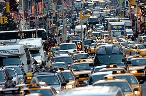 Congested NYC traffic.