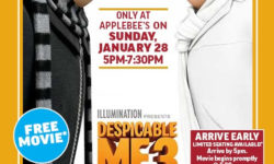 """Applebee's presents Dinner and a Movie: """"Despicable Me 3"""" – January 28"""