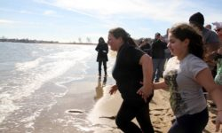 A woman and her young daughter lead the crowd into the chilly waters of the Long Island Sound.--Photo by David Greene