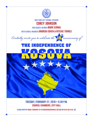 NYC Council Speaker Corey Johnson and Councilman Mark Gjonaj host a celebration in honor of the 10th anniversary of Kosovo's independence. City Hall, Council Chambers, Manhattan.