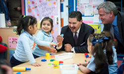 Mayor Bill de Blasio and Schools Chancellor Carranza visit Pre-K and 3-K classrooms at P.S. 25, The Bilingual School, Bronx. Credit: Ed Reed/Mayoral Photography Office.
