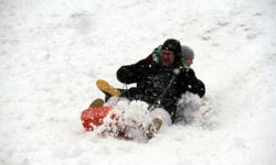 A father and son slide down Ewing Hill in Kingsbridge on Wednesday.--Photo by David Greene