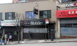 For the second time in less than a year, the NYPD has foiled an armed robbery at this T-Mobile store on East Gun Hill Road in Norwood.--Photo by David Greene