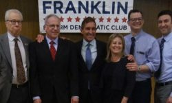 (L-R) Ben Franklin Vice Chair Bruce Feld, Assemblyman Jeffrey Dinowitz, Senator Jeff Klein, Female District Leader Randi Martos, Councilman Andrew Cohen, and Male District Leader Eric Dinowitz.