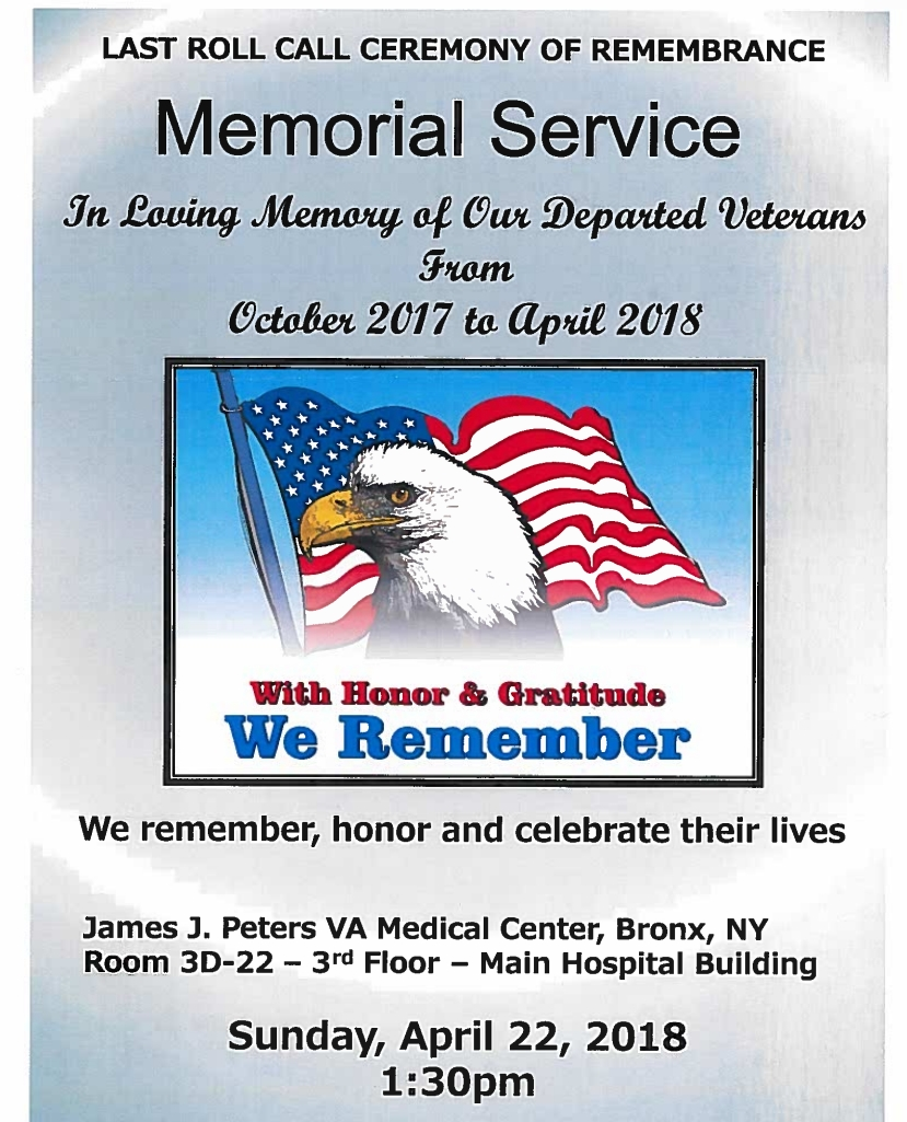 Bronx VA Hospital Memorial Service, April 22