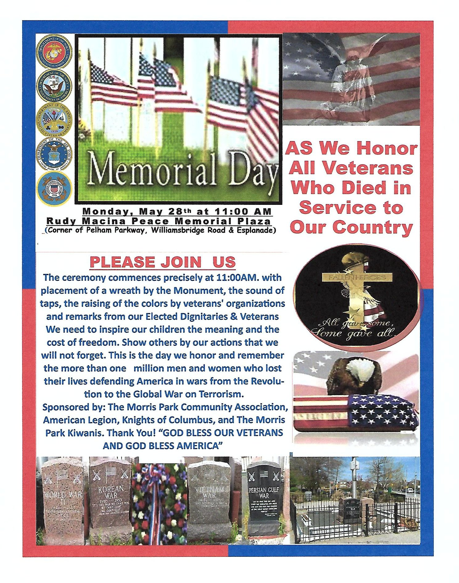 MEMORIAL DAY CEREMONY Monday, May 28th, 11:00AM