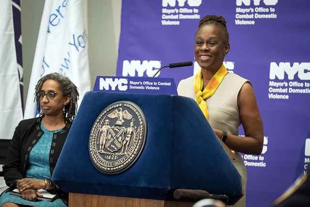 First Lady Chirlane McCray announces a groundbreaking new initiative to intervene in and reduce domestic violence in New York City. John Jay College of Criminal Justice, Manhattan.