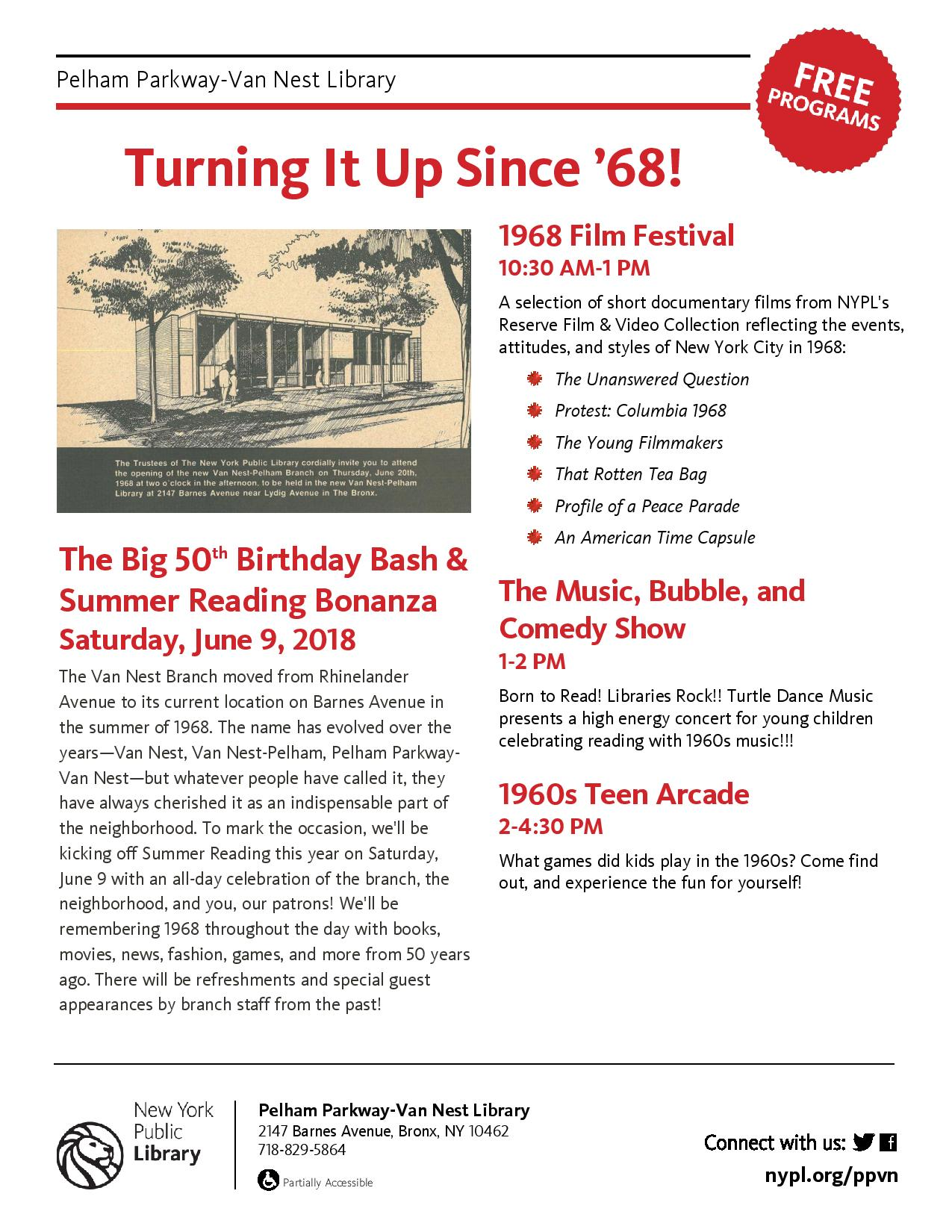 "Pelham Parkway-Van Nest Library ""The Big 50th Birthday Bash & Summer Reading Bonanza"""