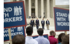 From left, Liberty Justice Center's Director of Litigation Jacob Huebert, Illinois Gov. Bruce Rauner, Liberty Justice Center founder and chairman John Tillman, and plaintiff Mark Janus walk out of the the Supreme Court after the court rules in a setback for organized labor that states can't force government workers to pay union fees in Washington, Wednesday, June 27, 2018. (AP Photo/Andrew Harnik)