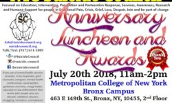 Invite to NYC Suicide Council July 2nd, 3rd Annual Anniversary Awards Luncheon, July 20th, and Bronx Suicide Network July 10th, 11am