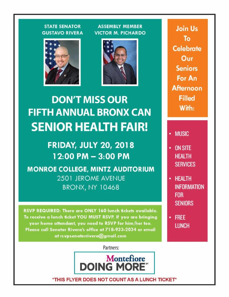 5TH ANNUAL BRONX CAN SENIOR HEALTH FAIR!