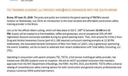 TSC Training Academy, LLC proudly announces Expansion into the South Bronx