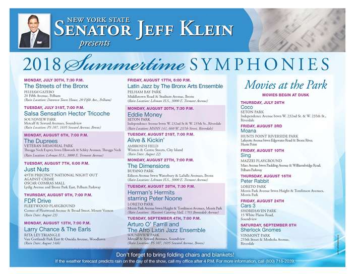 """Senator Jeff Klein: """"2018 Summertime SYMPHONIES"""" and """"MOVIES AT THE PARK"""""""